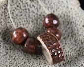Handmade stoneware ceramic beads Rusty Coral (5)