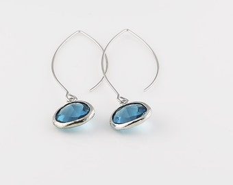 Capri Blue Glass Earrings, Silver Tone Framed Teardrop Earrings