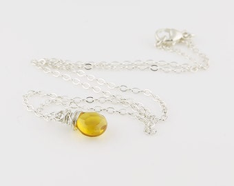 Beer Quartz Necklace, Multi Faceted Briolette On Sterling Silver Chain, Quartz Necklace