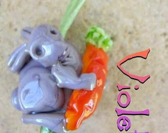 VIOLET HelensHarvest Autumnal Glass Lampwork Bunny and Carrot Handmade Bead