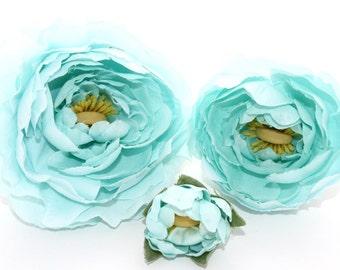 Set of THREE Silk Ranunculus in Mint Blue - Bud to Bloom - Artificial Flowers - ITEM 0571