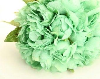 Mint Green Peony Bouquet  - Artificial Flower Bouquet, Wedding Bouquet, Bridesmaid Bouquet, Clutch Bouquet - ITEM 01030