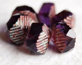 Tanzanite Picasso Czech Glass Bead 14x10mm Curvy Rondell : 6 pc