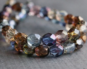 6mm Czech Glass Bead Faceted Round Luster Mix :  25 pc Strand 6mm Bead Mix