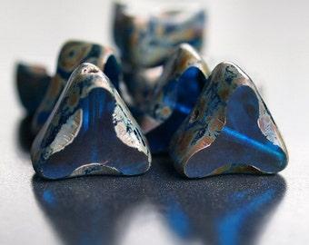 Chunky Capri Blue Picasso Czech Glass Bead 13mm Triangle : 8 pc