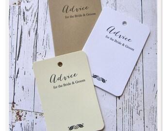 50 Wedding Advice Tags, Bridal Shower Tags, Wish Cards, Bridal Shower Advice Tags, Wish Tags, Wedding Wish Tree Tags, Baby Shower Tag, W001