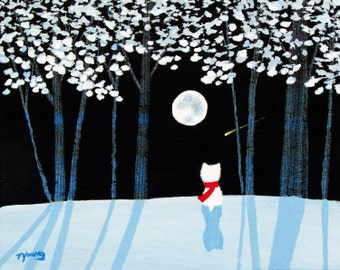 Westie Terrier Dog Art PRINT Todd Young painting WINTER FOREST