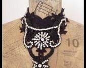 Black Lace and Diamante Neckpiece