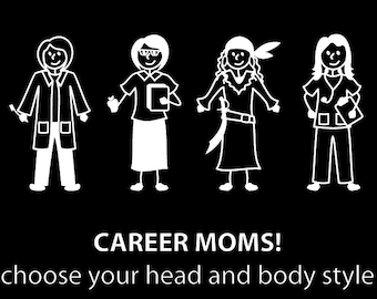 Career MOM sticker  Customize your MOM Stick Family Car Decal
