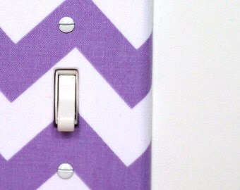 Light Switch Plate Cover - purple and white chevron - gifts under 25