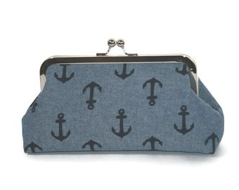 Nautical Gift, Nautical Wedding, Anchor Purse, Bridesmaid Clutch Purse, Bridesmaid Gift, Clutch Purse, Gift for Her