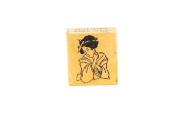 Rubber Stamp, wood, oriental woman, Stamp Happy, woman, C, destash