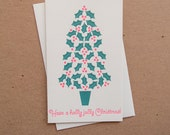Holly Jolly Christmas Letterpress Holiday Card // 1547