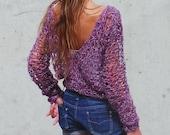 purple sweater pink v.neck boho  loose knit sweater pink v neck grunge boho sweater