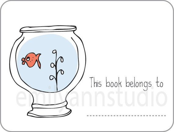 Fish bowl bookplates this book belongs to labels set of 15 for Book with fish bowl on cover