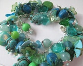 Bead Charm Bracelet in Blue and Green with Turtles