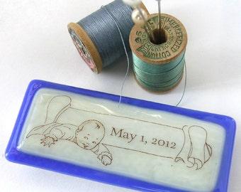New Baby - Birthday Memento - Keepsake Box - Tooth Fairy Box - Fused Glass Box - Tiny Box