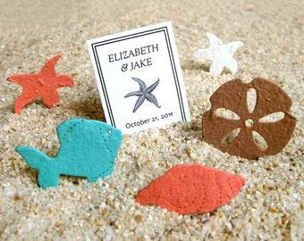 Plantable Beach Wedding Favors - Flower Seed Confetti Shells Starfish Sand Dollars Plantable Paper Starfish Confetti