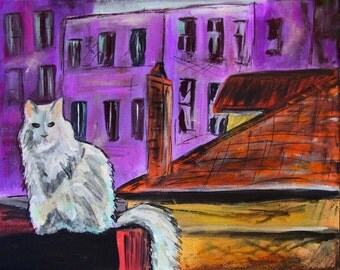 "City Cat Cityscape Acrylic Painting 11""x14"" Canvas"