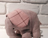 Handmade Herringbone & linen stuffed elephant doll