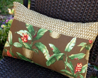 St. Tropez Lumbar Sun Porch Pillow in Chocolate Brown / indoor outdoor tropical patio pillows / summer pillows / resort island style / palm