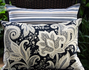 Reina Outdoor Lumbar Pillows in black and cream / floral and stripes / Waverly indoor outdoor patio pillow / lake house / sunroom pillows