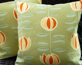 Maine Cottage May Flower Sun Porch Pillow / indoor outdoor patio pillow decor / sage green and orange summer pillows / pickle green pillows