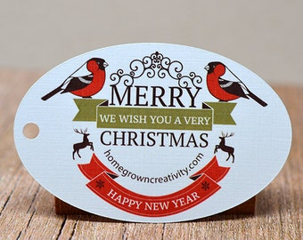 Merry Christmas Winter Bird Deer Gift Tags Thank You Tags Persoanlized Customized