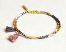 Double Tassel Bracelet with Feather // Beige, Copper, Blue and Gold // Boho Friendship Bracelet
