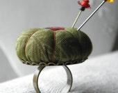 Pumpkin Pincushion Ring, olive