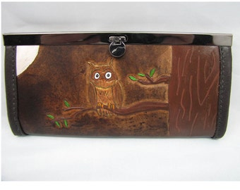Leather Wallet/Clutch Purse - The Owl