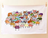 Colourful Sheep Tea Towel