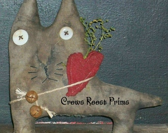 Cat with heart Crows Roost Prims 248e  Primitive Claude epattern  SALe immediate download