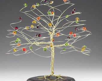 Tree Cake Topper Fall Wedding Cake Topper with Swarovski Crystal Elements 6x6 Large Silver Gold or Copper with Red Orange Green Yellow