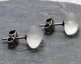 DIAMONDS - Frosty White Sea Glass POST Earrings