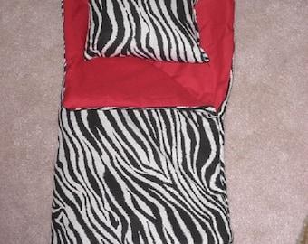 Handmade Sleeping Bag (Zebra Red) fits 18 inch Doll Like American Girl
