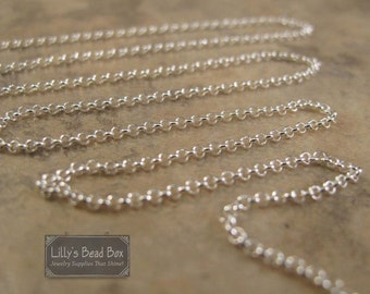 2 Feet Sterling Silver Rolo Chain, Thin .925 Silver Chain for Making Jewelry, Everyday Necklace Chain (970i-s)