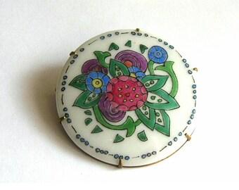Vintage Painted Porcelain Brooch Abstract Floral Design Prong Set
