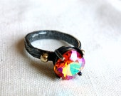 Pronged Ring with Swarovski Crystal and 14k Gold Pebbles