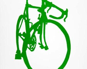 Bicycle Art - Green Road Bike Print