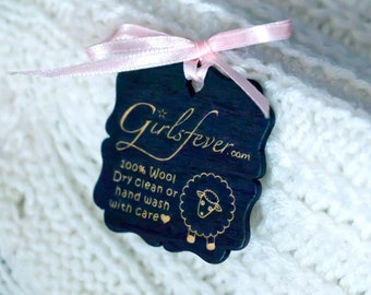 Custom Black wooden tags / labels personalized vintage labels for knitwear 100 pcs