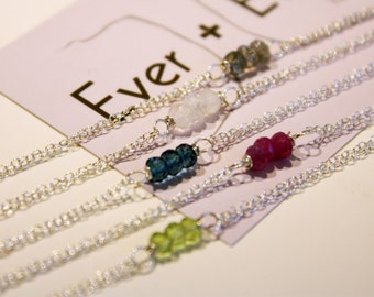 Sterling Silver Three-Stone Gemstone Bracelet - Choose Your Gemstone - Simple and Small