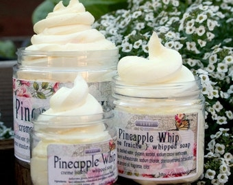 Tropical Scented Soap Pineapple Whip 4 oz Whipped Soap Creme Fraiche VEGAN