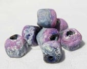 10 Rustic Radiant Orchid Purple Rose Nuggets , Lampwork Beads ,  fine silver wire ,  glass beads by Beadfairy Lampwork, SRA