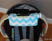 Cute NEW DESIGN Aqua Chevron and Lime Ta Dot REVERSIBLE Car Seat Handle Arm Pad with Hand Grip