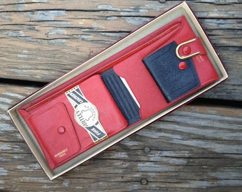 1950's Red Goatskin Leather Wallet Still in Original Box Artley Products Wallets of Distinction