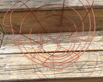 A Vintage Metal RED Wire Basket  Home Decor Storage Organizing