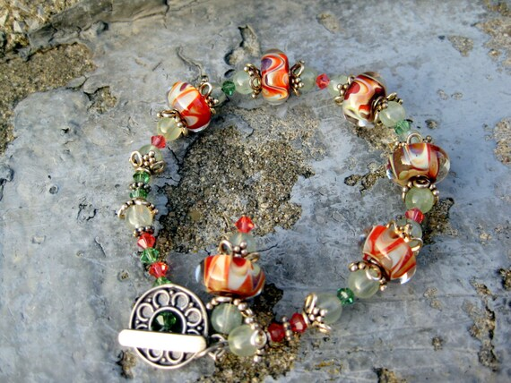 Prehnite and boro lampwork bracelet, sterling silver, Absinthe & Juice