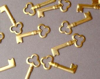 12 Tiny Brass Key Charms