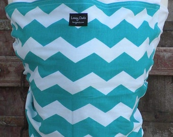ORGANIC COTTON Baby Wrap Sling Carrier-Teal Chevron on White-DVD Included-One Size Fits All-Newborn -Toddler